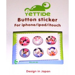 iPhone iPad iPod Sticker Hemknapp 6-pack (Mickey Mouse)