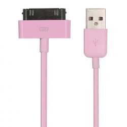 iPhone, iPod, iPad USB-laddare, Synkkabel 1m (Rosa)