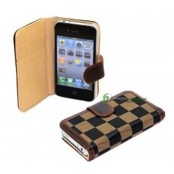 iPhone 4 Plånbok Schack (Brun)