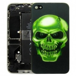 iPhone 4 Bakstycke Green Scull 3D