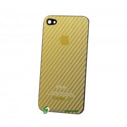 iPhone 4 Bakstycke Kolfiber Steel (Guld)