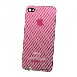 iPhone 4 Bakstycke Kolfiber Steel (Rosa)