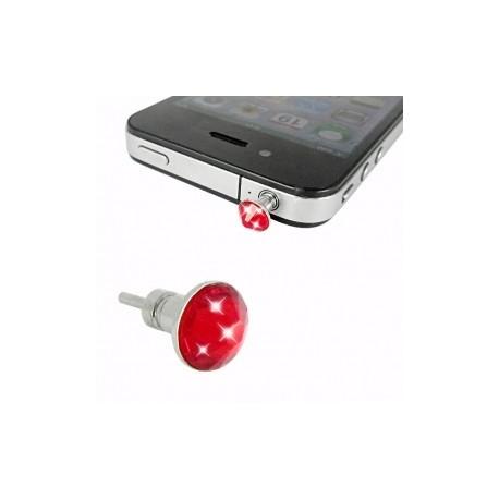iPhone 4 Hörlursuttag Kristall (Röd)