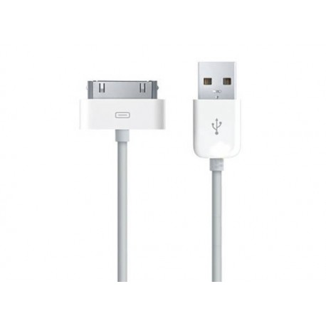 iPhone, iPod, iPad USB-laddare, Synkkabel 1m (Vit)