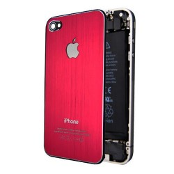 iPhone 4S Bakstycke Borstad Stål (Röd)