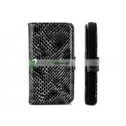 iPhone 4/4S Plånbok Snake Skin (Svart)