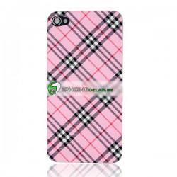 iPhone 4 Bakstycke Tartan Vinyl (Rosa)