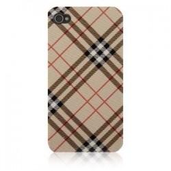 iPhone 4 Bakstycke Tartan Vinyl (Brun)