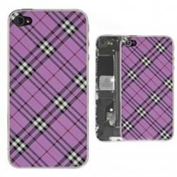 iPhone 4S Bakstycke Tartan Vinyl (Lila)