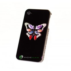 iPhone 4/4S Skal Butterfly Crystal (Svart)