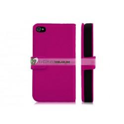 iPhone 4/4S Plånbok Premium Leather (MörkRosa)