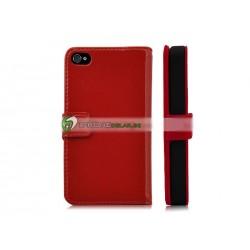 iPhone 4/4S Plånbok Premium Leather (Röd)