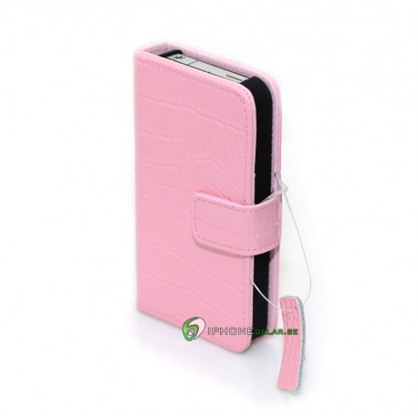 iPhone 4/4S Plånbok Crocodile (Ljusrosa)
