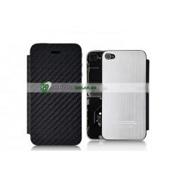 iPhone 4S Bakstycke Borstad Stål Silver/Läder (Fram&Bak)