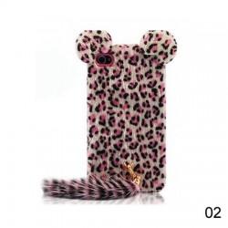 iPhone 4/4S Leopard Päls med Svans (Rosa)