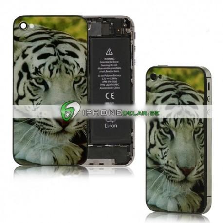iPhone 4 Bakstycke Tiger (Vit)