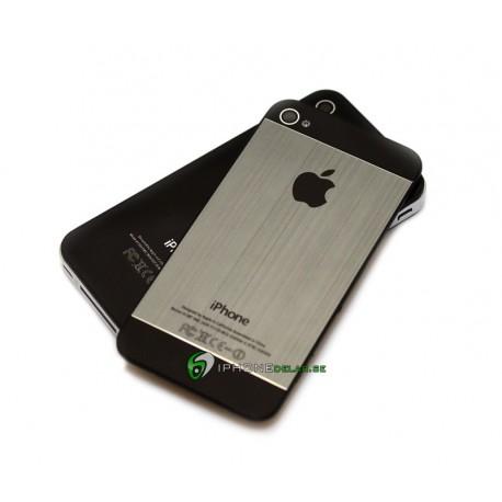 iPhone 4S Bakstycke Borstad Svart Botten Topp (Grå)