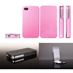 iPhone 4 Carbon Skin Fodral (Rosa)