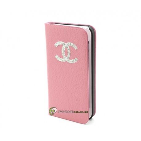 iPhone 5 Plånbok Diamond LOGO (Rosa)