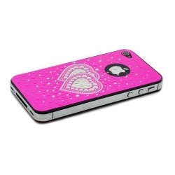 iPhone 4/4S Skärmskydd Crystal Heart (Rosa)