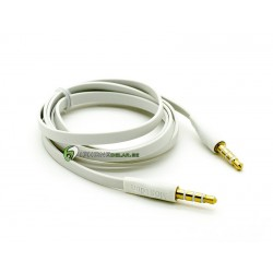 iPhone AUX 3.5mm Flat Kabel (Vit)