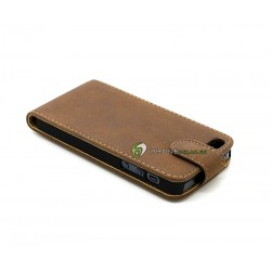 iPhone 5 Plånbok Vertikal Mocka (Mörk Brun)