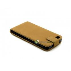 iPhone 5 Plånbok Vertikal Mocka (Ljus Brun)