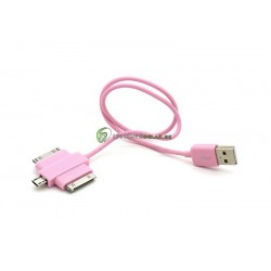 iPhone Dual USB-30pin-Micro Laddare (Rosa)