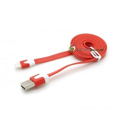 iPhone 5/5S/5C Noodle Kabel (Röd)