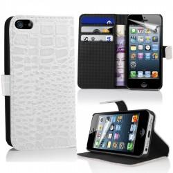 iPhone 5 Plånbok Crocodile (Vit)