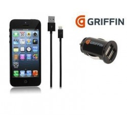 iPhone 5/5S/5C Griffin Dual Auto USB-laddare m/kabel