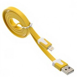 iPhone 5/5S/5C Noodle Kabel (Gul)