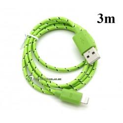 iPhone 5/5S/5C USB Kabel Snöret 3M (Grön)