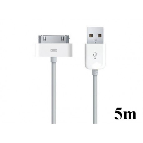 iPhone, iPod, iPad USB-laddare, Synkkabel 5m (Vit)